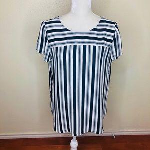 Loft Navy Striped Short Sleeve Blouse